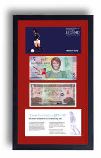 Limited Edition GBP LEGAL TENDER George Best £5 Note Presentation